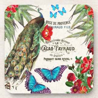 Peacock Morpho Butterfly Rose Flowers Coaster