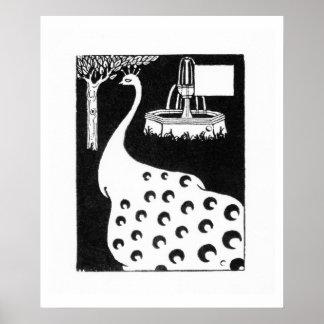 Peacock motif, from 'Le Morte d'Arthur' (litho) Poster