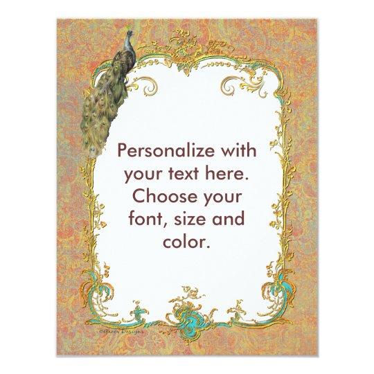 Peacock n Paisley Ornate Art Invitation Cards