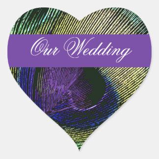 Peacock n purple wedding engagement heart sticker