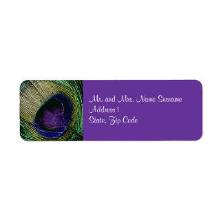Peacock n purple wedding engagement return address label