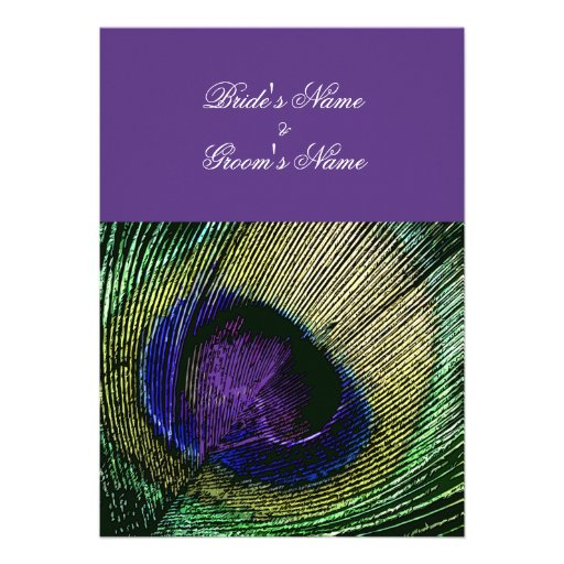 Purple themed peacock feather formal wedding invitation template