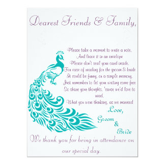 Peacock Note Station Welcome Letter 17 Cm X 22 Cm Invitation Card