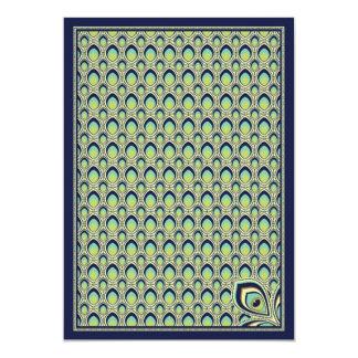 Peacock Nouveau Invitation (Navy)