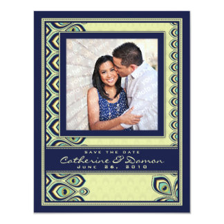 Peacock Nouveau Save the Date (Navy) Card