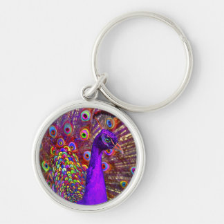 Peacock Of A Million Colors Silver-Colored Round Key Ring
