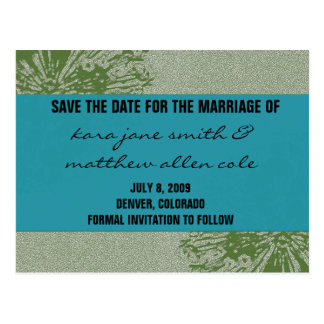 Peacock & Olive Save the Date Postcard