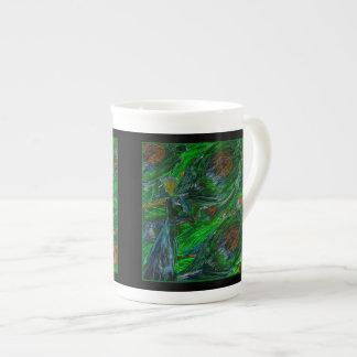 Peacock. On Black Tea Cup