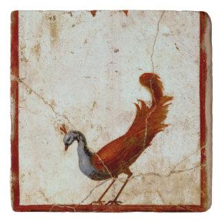 Peacock on Fresco Ancient Roman Antique Painting Trivet
