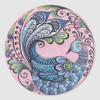 Peacock on Pink Stickers