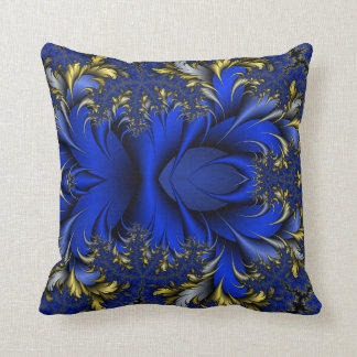 Peacock Ore 7 - Royal Blues/Golds/Silver Throw Pillow