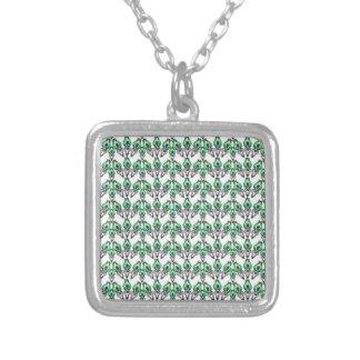 Peacock Ornamental Design Square Pendant Necklace