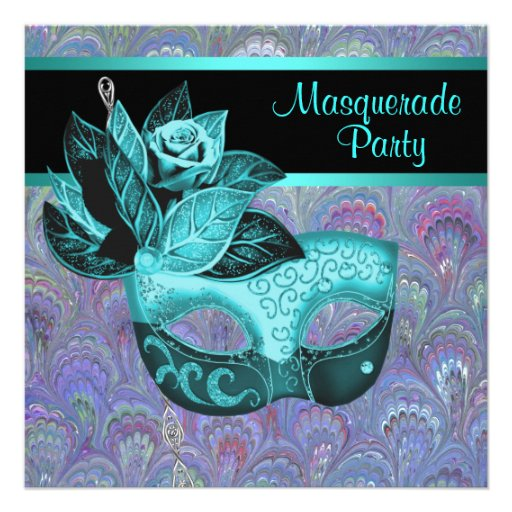 Peacock Paisley Teal Blue Purple Masquerade Party Personalized Announcement