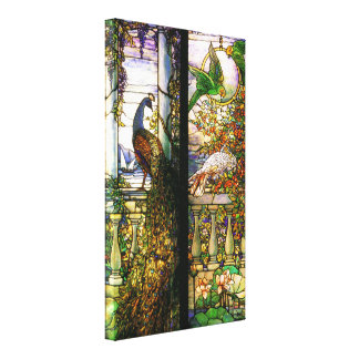 Peacock Parrot Bird Stained Glass Stretched Canvas Canvas Print
