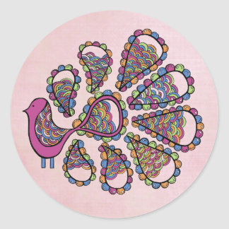 Peacock Party Pink DIY Cupcake Topper Label Classic Round Sticker
