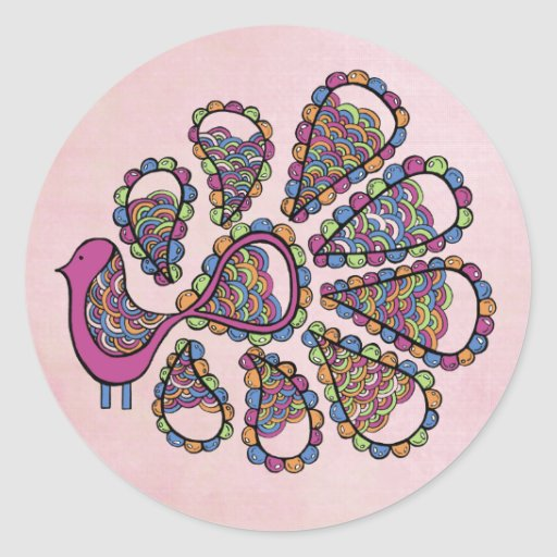 Peacock Party Pink DIY Cupcake Topper Label Stickers