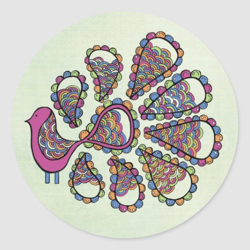 Peacock Party Pink DIY Cupcake Topper Label Sticker