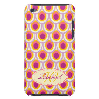 Peacock pattern yellow pink name case barely there iPod case