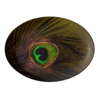 Peacock Peafowl Bird Porcelain Serving Platter