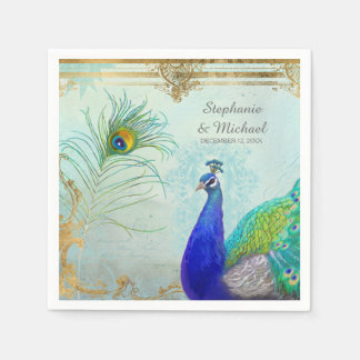 Peacock Peafowl Tail Feathers Faux Gold Leaf Swirl Paper Napkins