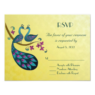 Peacock - Peahen  RSVP, mustard yellow Personalized Invite