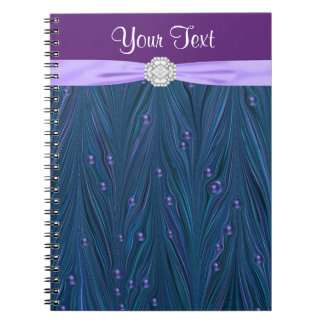 Peacock Pearls Purple Teal Blue Spiral Notebook