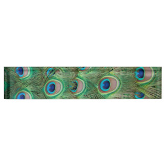 Peacock plumage nameplate