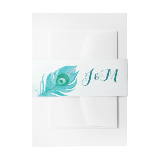 Peacock Plume Monogram Watercolor Wedding Invitation Belly Band