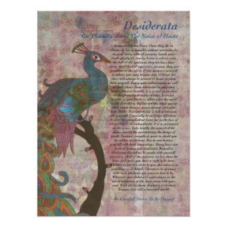 Peacock Pointing to Desiderata Poster