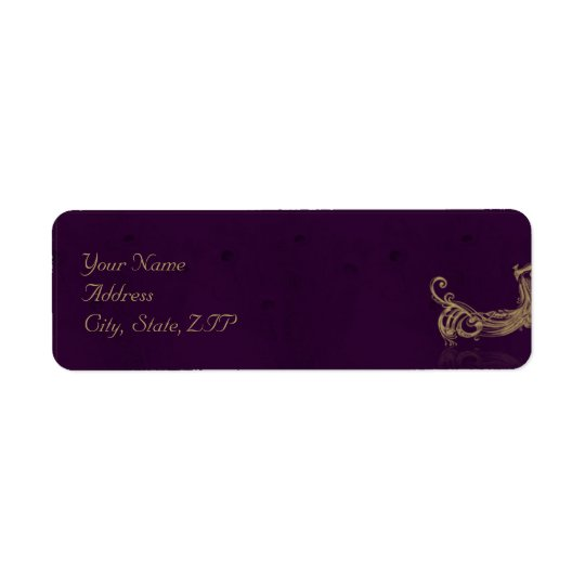 Peacock Regency in Purple Return Address Label