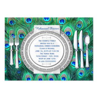 Peacock Rehearsal Dinner 13 Cm X 18 Cm Invitation Card