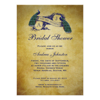 Peacock Rustic Bridal Shower Announcements