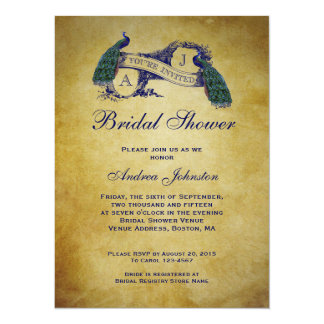 Peacock Rustic Bridal Shower 5.5x7.5 Paper Invitation Card