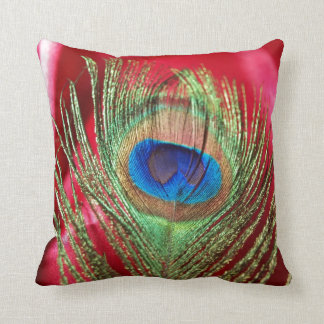 Peacock Silky Red Still Life Throw Pillow