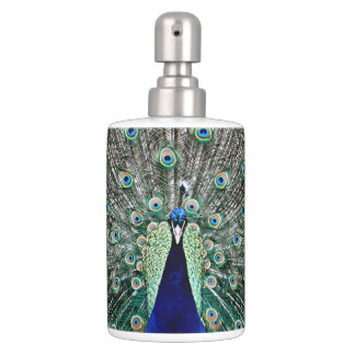 Peacock Soap Dispenser And Toothbrush Holder