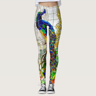 Peacock Stained Glass Yoga Pants Running