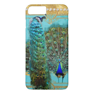 Peacock Tail Feathers Gold Glitter Baroque Jewel iPhone 8 Plus/7 Plus Case