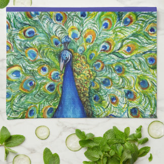 Peacock Tea Towel, Pretty as a Peacock Hand Towel