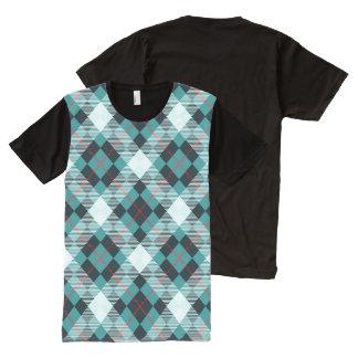 Peacock, Teal & Crimson Diagonal Plaid All-Over Print T-Shirt