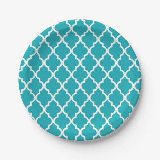 Peacock Teal Quatrefoil Tiles Pattern Paper Plate