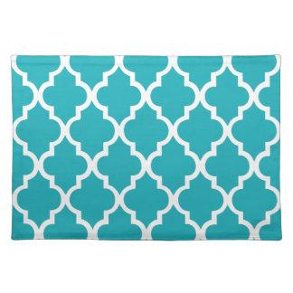 Peacock Teal Quatrefoil Tiles Pattern Placemat