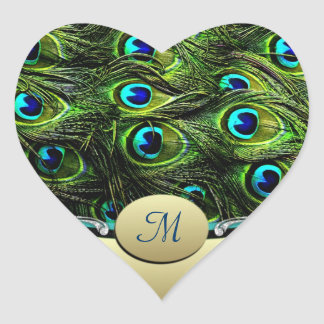 Peacock  Theme Wedding Envelope Seals Heart Sticker