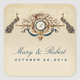 Peacock theme wedding square sticker