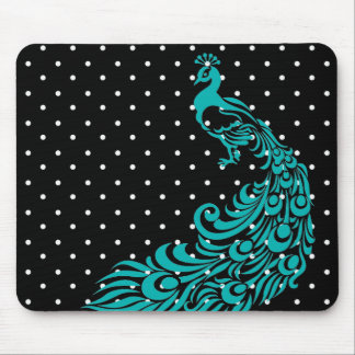 Peacock-Turquoise-Polka-Dots-Retro-Classic Mouse Pad