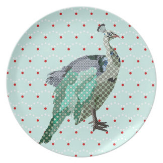 Peacock Vintage Blue & Red Polkadots Plate