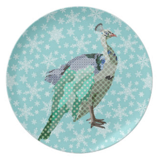 Peacock Vintage Blue Snowflake Plate