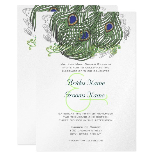 Peacock Vintage Feathers 13 Cm X 18 Cm Invitation Card