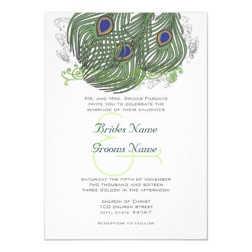 Peacock Vintage Feathers 13 Cm X 18 Cm Invitation Card