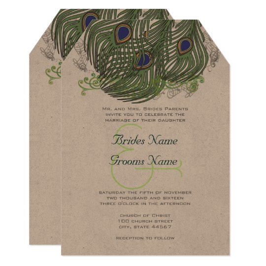 Peacock Vintage Feathers Card