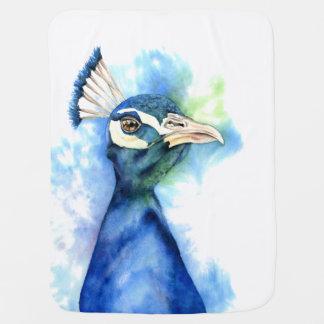 Peacock Watercolor Painting Baby Blanket